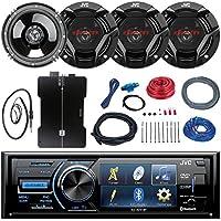 JVC KD-AV41BT 3 Car DVD Bluetooth Stereo Receiver Bundle Combo With 4x 6.5 300 Watt 2-Way Coaxial Speakers + 800-Watt 4-Channel Amplifier With Installation Kit, Enrock 22 AM/FM Radio Antenna
