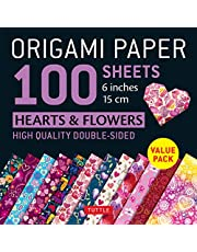 """Origami Paper 100 sheets Hearts & Flowers 6"""" (15 cm): Tuttle Origami Paper: High-Quality Double-Sided Origami Sheets Printed with 12 Different Patterns: Instructions for 6 Projects Included"""