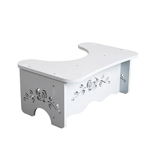 BEYONDA 7 Inch Toilet Stool,White Wood Bathroom Step,Comfortable Squat Aid  Kids,