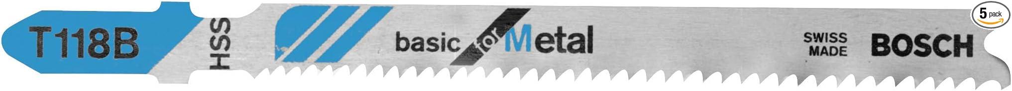 Bosch 5 pcs Jig Saw Blades T118BF T-Shank Bi-Metal 2608634503