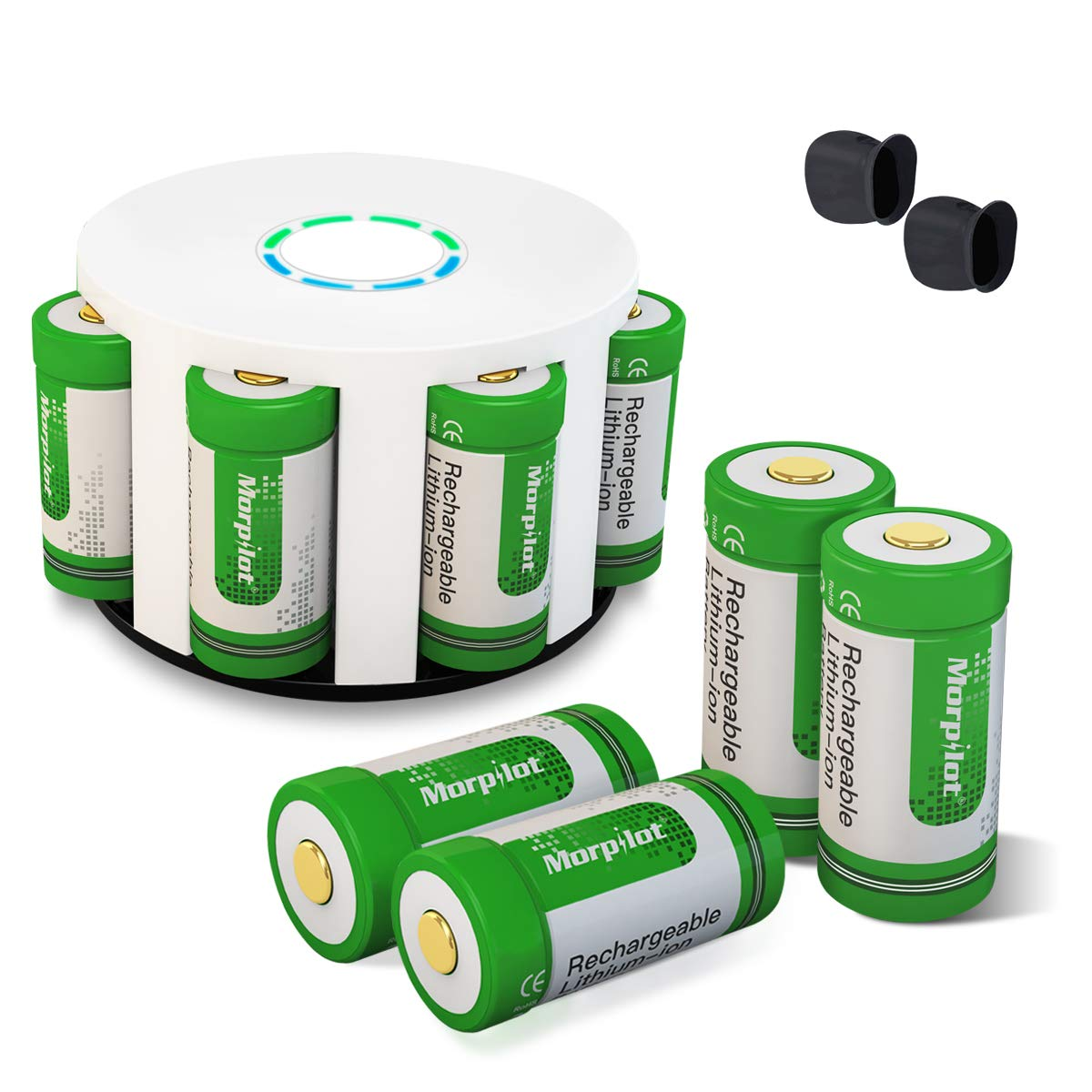 Morpilot RCR123A Rechargeable Batteries And Charger 8Pcs 37V 700mAh Li Ion Battery With 8 Slot For Arlo VMC3030 3230 3330 3430 3530 Security