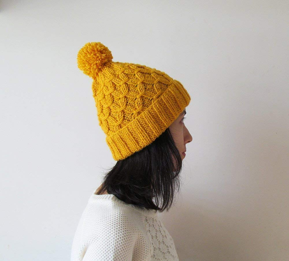 Amazon.com  Hand Knitted Hat in Yellow 52bc9ffa4b72