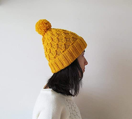 Amazon.com  Hand Knitted Hat in Yellow 897b2f70375
