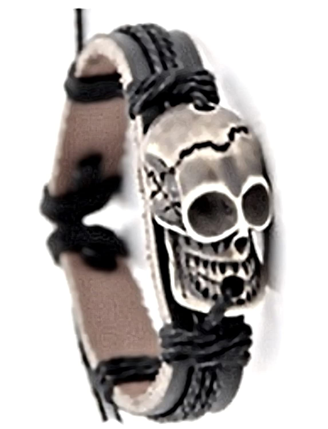 Tribal Voodoo Pirate Skull Black Leather Bracelet