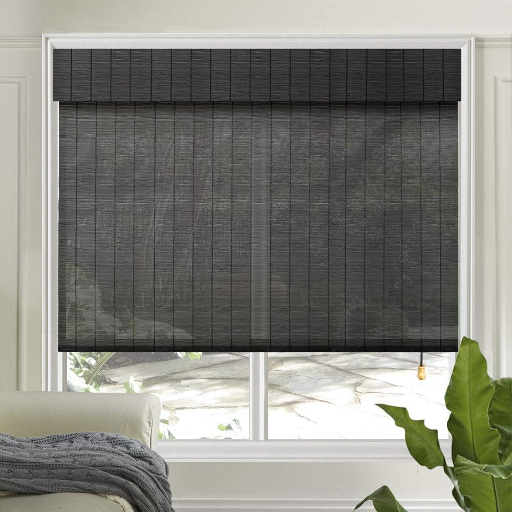 Amazon Com Letau Wood Window Shades Blinds Bamboo Light Filtering Custom Roman Shades New Pattern 1 Home Kitchen