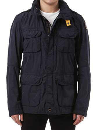 Wiberlux Parajumper Desert Men's Logo Patch Detail Hidden Hood Safari Jacket S Blue Black