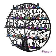 Nail Polish Display - Tree Silhouette Metal Wall Mounted 5 Layers Salon Rack Holder / Wall Art Display