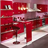 """YENHOME Vinyl Contact Paper Waterproof 24"""" x 196"""" Glossy Red Peel and Stick Drawer and Shelf Liner for Kitchen Cabinets Removable Wallpaper Self Adhesive Covering"""