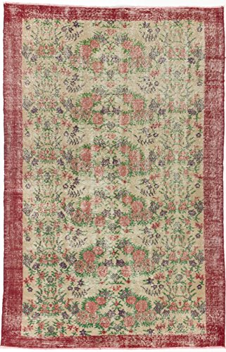 Ecarpetgallery Hand-Knotted Melis Vintage Red Traditional 5' x 8' 100% Wool Kitchen Dining Room Area Rug from eCarpet Gallery