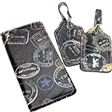 Sydney Love Bon Voyage Passport Holder and 2 piece Boxed Luggage Tags (Black)