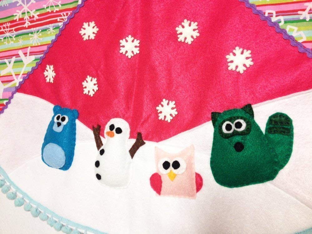 Christmas Tree Skirt, Handmade Rainbow Woodland Animals