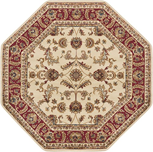 Sariya Transitional Oriental Ivory Octagon Area Rug, 8' Octagon