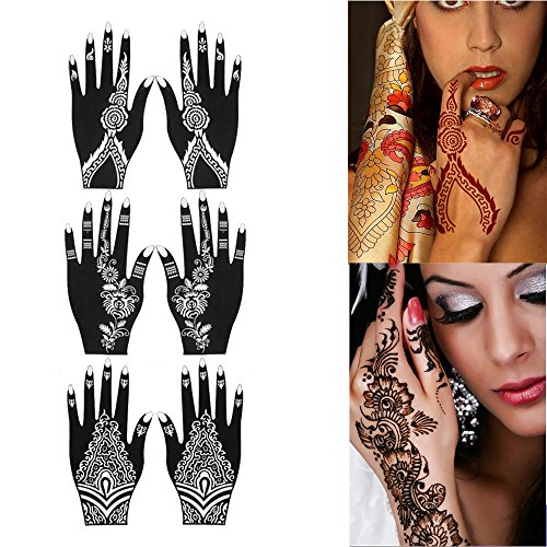 Tattoo Stencil for Henna Tattoos (6 Sheets) Self-Adhesive Body Art Designs Temporary Tattoo Templates Henna Flower Designs