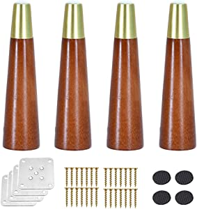 4 Tapered Wood Sofa Legs, Solid Wood Furniture Replacement Leg, Kitchen Cabinet Support Feet, for Loveseat/Chair/Ottoman/Bed/TV/Dresser, Brass Sleeve, Walnut, with Plate and Screws (Vertic