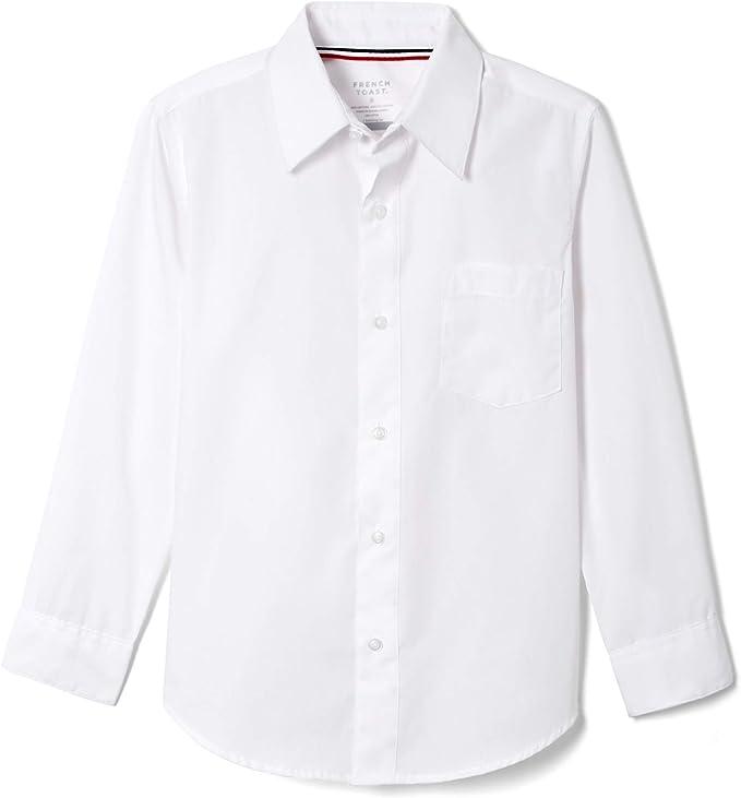 French Toast Little Boys' Long Sleeve Poplin Dress Shirt, White, 5