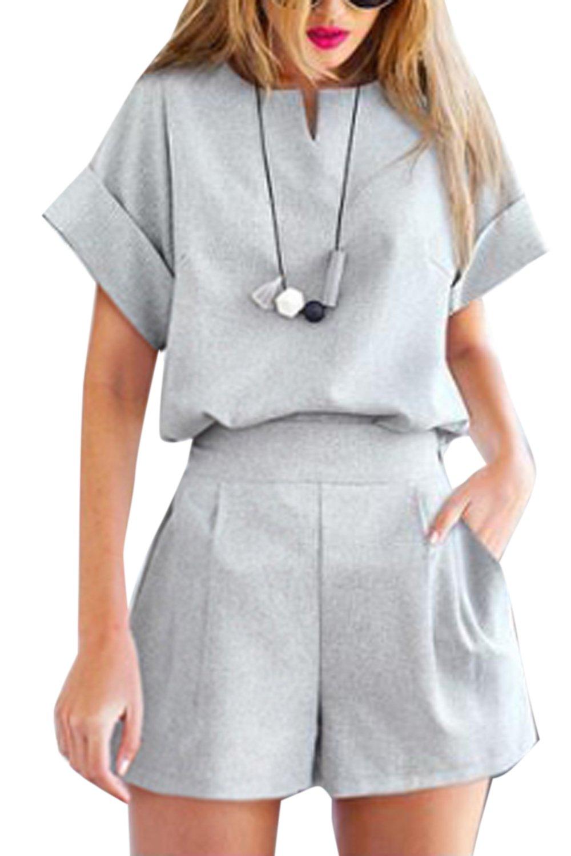 Women 2 Pieces Tee Top Formal Work Short Length Plus Size Palazzo Pants Suit Sets Grey XXL