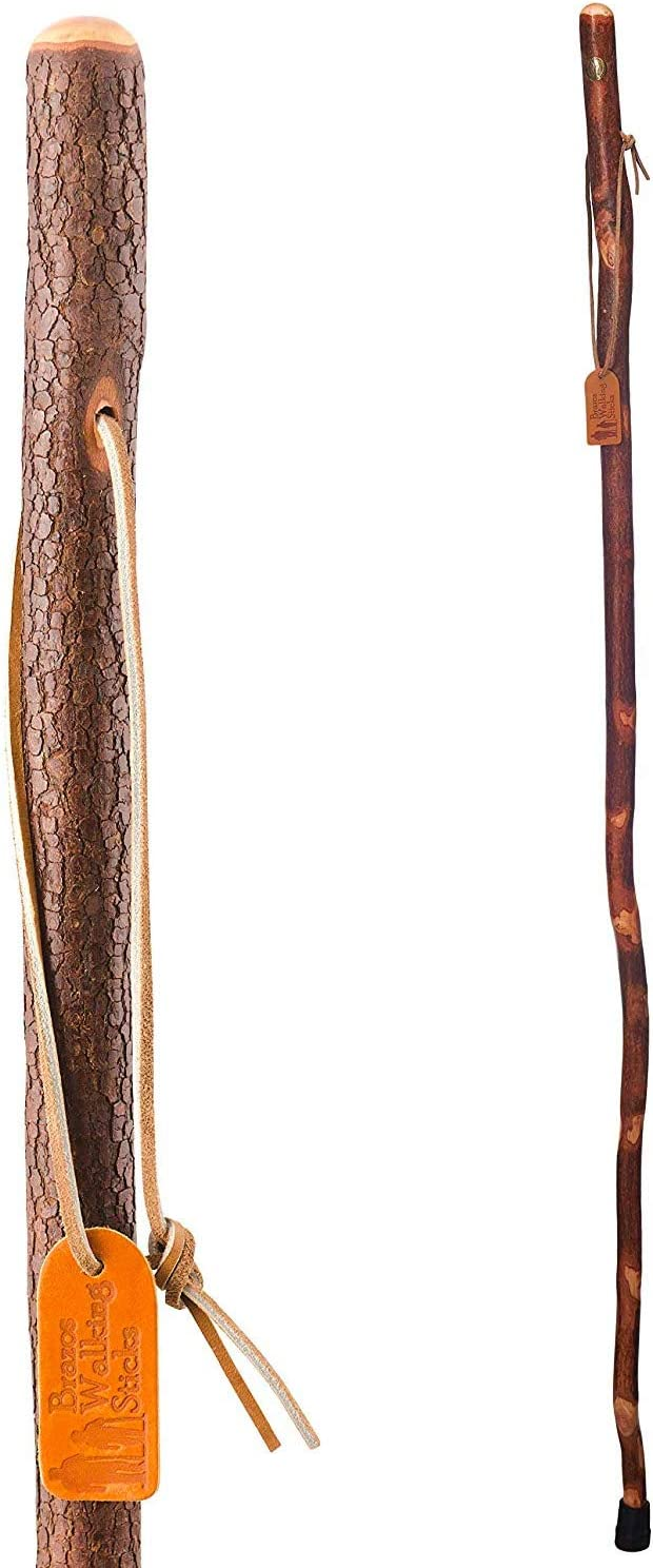 Brazos 58 Free Form Dogwood Walking Stick Hiking Trekking Pole for Men and Women, Made in the USA