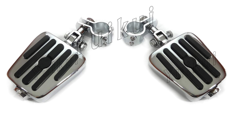 YUIKUI RACING オートバイ汎用 1-1/4インチ(32mm)/1インチ(25.4mm)エンジンガードのパイプ径に対応 ハイウェイフットペグ タンデムペグ ステップ YAMAHA V-STAR 1300 TOURER/XVS 1300A MIDNIGHT STAR TOURER All years等適用   B07PY94W1L