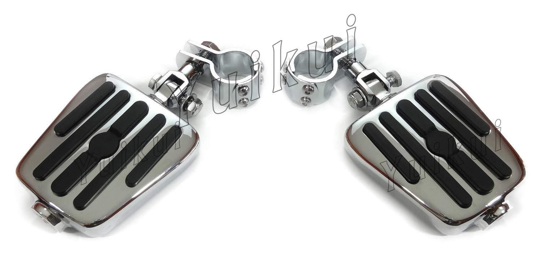 YUIKUI RACING オートバイ汎用 1-1/4インチ(32mm)/1インチ(25.4mm)エンジンガードのパイプ径に対応 ハイウェイフットペグ タンデムペグ ステップ YAMAHA XV 1900A / STAR ROADLINER/MIDNIGHT STAR From 2006等適用   B07PX3LB41