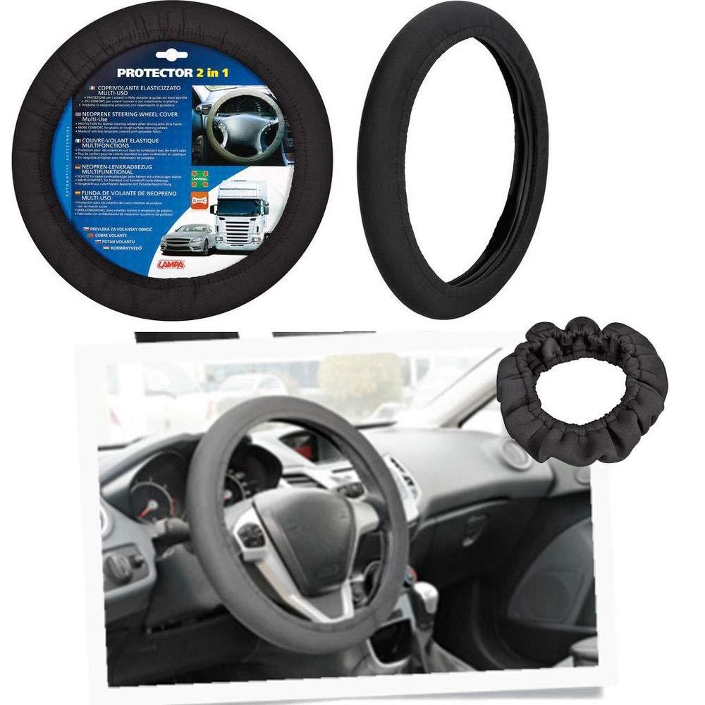 takestop/® Lenkradbezug elastisch ws1184 schwarz Neopren Universal Rutschfest Auto weich atmungsaktiv