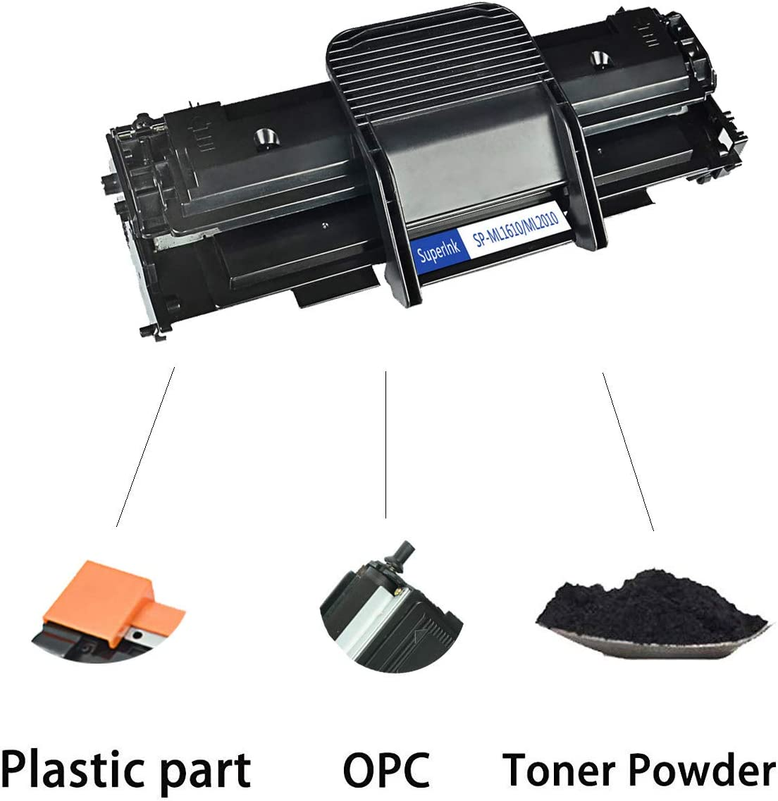Black, 1-Pack SuperInk Toner Cartridge Replacement Compatible for Samsung ML2010 to use with ML-2010 ML-2010D3 ML-2010P ML-2010R ML-2010PR Printer