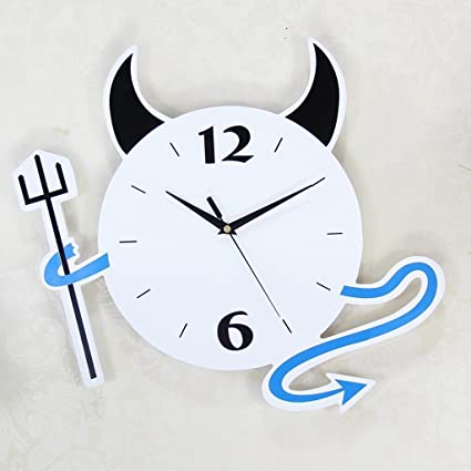 KYDJ Relojes personalizados y relojes Cartoon Diablito Fashion Creative Salón Dormitorio Mesa Colgante Reloj silencio Arte