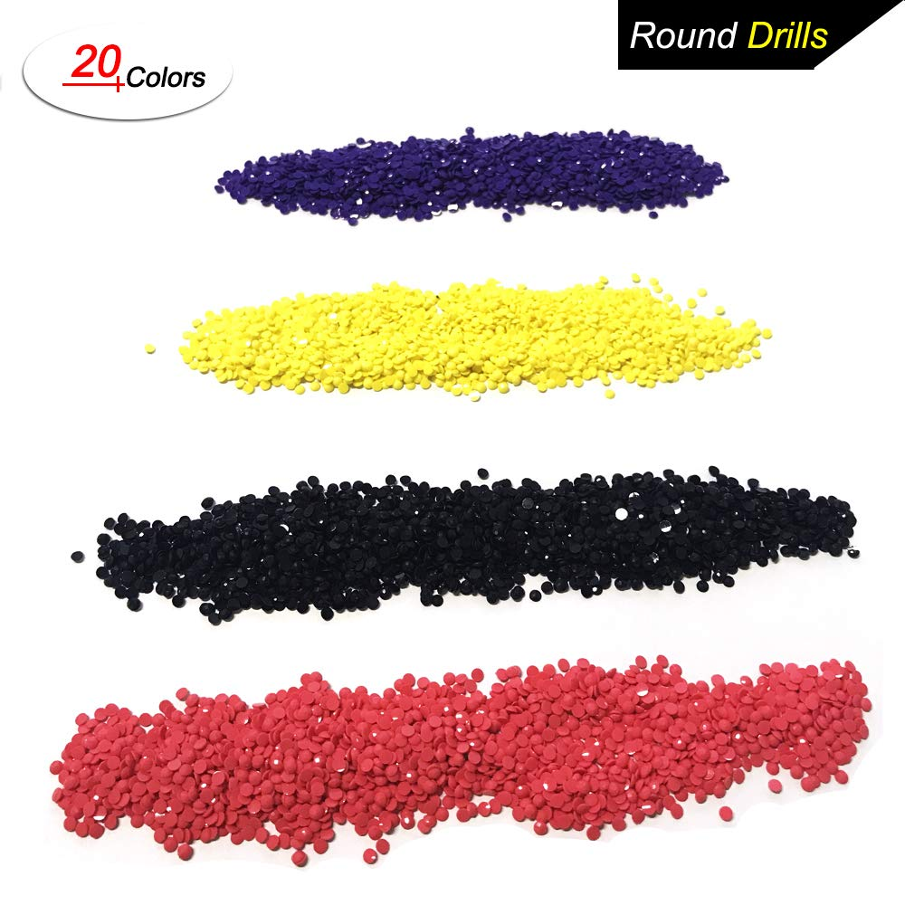 Diamond Painting Accessories Round Diamonds, 20 Colors DIY Bead Replacement for Missing Drills of 5D Diamond Painting Kits Cross Stitch Rhinestone Embroidery Orment