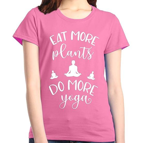 Shop4Ever Eat More Plants Do More Yoga Womens T-Shirt Vegan Shirts