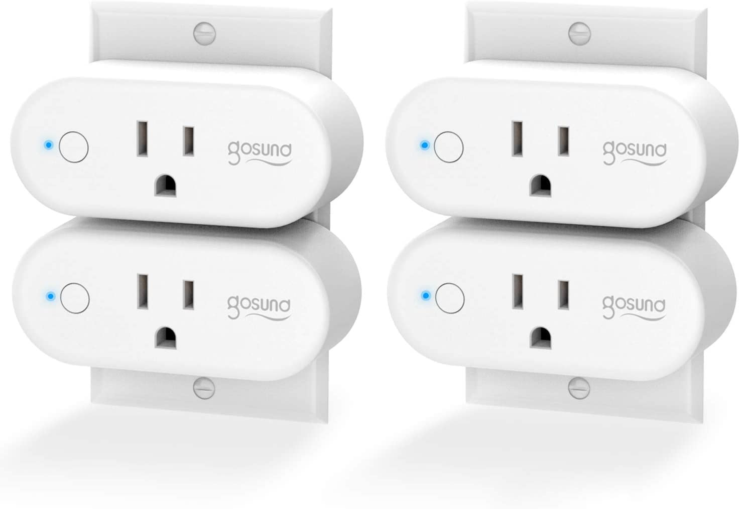 Smart Plug Gosund WiFi Outlet 15Amp Socket Compatible with Alexa Google Home Plugs, Voice and App Control, Schedule and Timer, No Hub Required, 4 Pack [Upgraded Version]