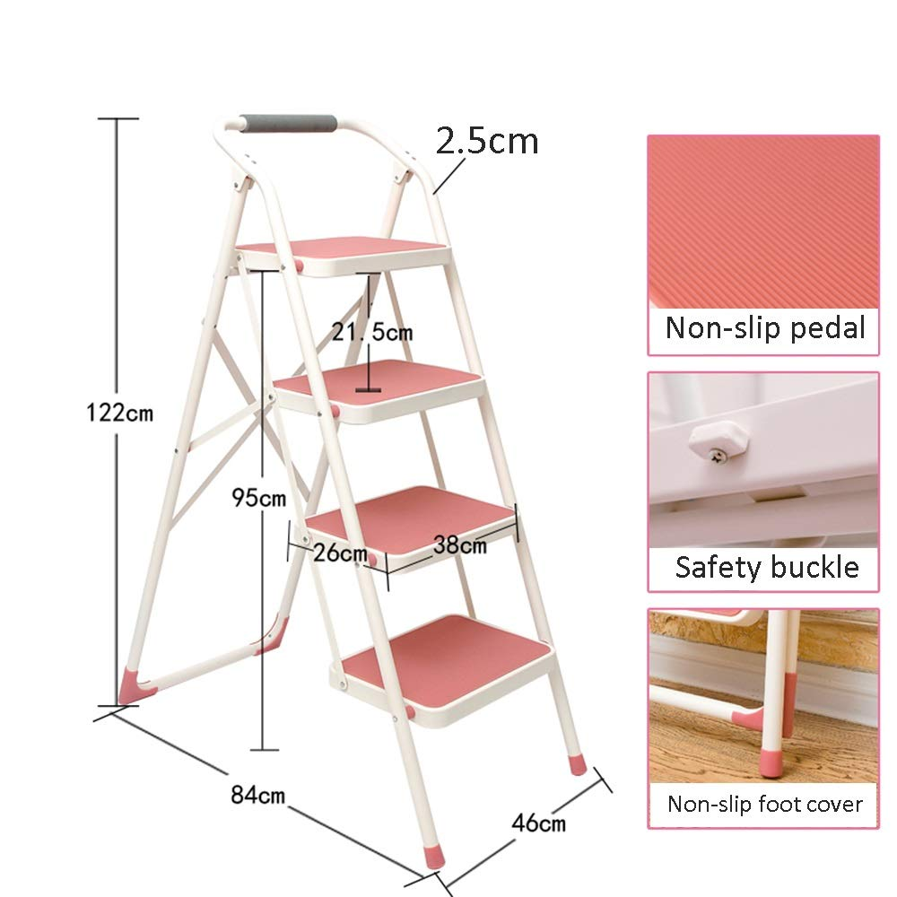 4 Step QFFL tideng 3 Step Ladder, Portable Foldable Step Stool with Anti-Slip Mat-150kg Capacity-Pink (Size   3 Step)