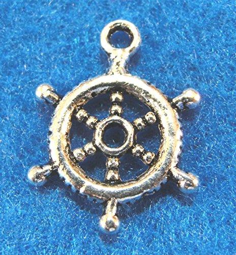 10Pcs. Tibetan Silver 3D Ships Helm Wheel Charms Pendants Earring Drops Charms DIY Crafting by WCS
