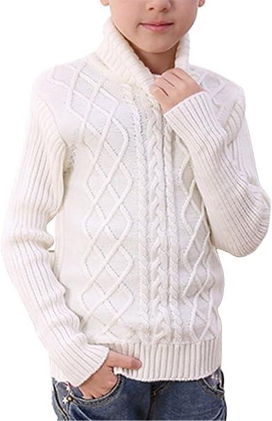 Boys Long Sleeve Sweater Turtleneck Pullover Argyle Uniform Plaid Kids Clothes