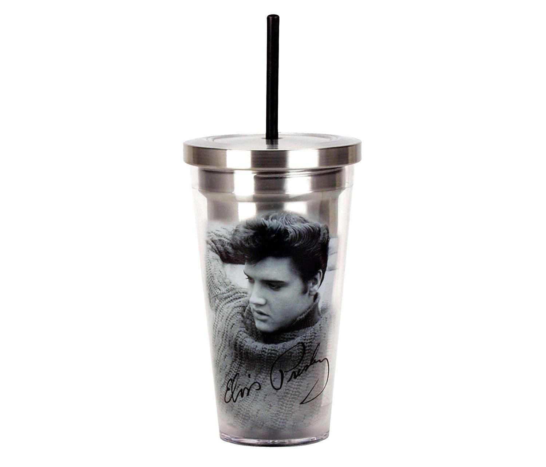 mozllyマルチパック – Spoontiques Elvis Presey凡例16ozステンレススチールTravel Cup with Straw – 7インチ – Novelty Drinkware (パックof 3 ) – Item # s126009 _ x3 B0752MCGVJ