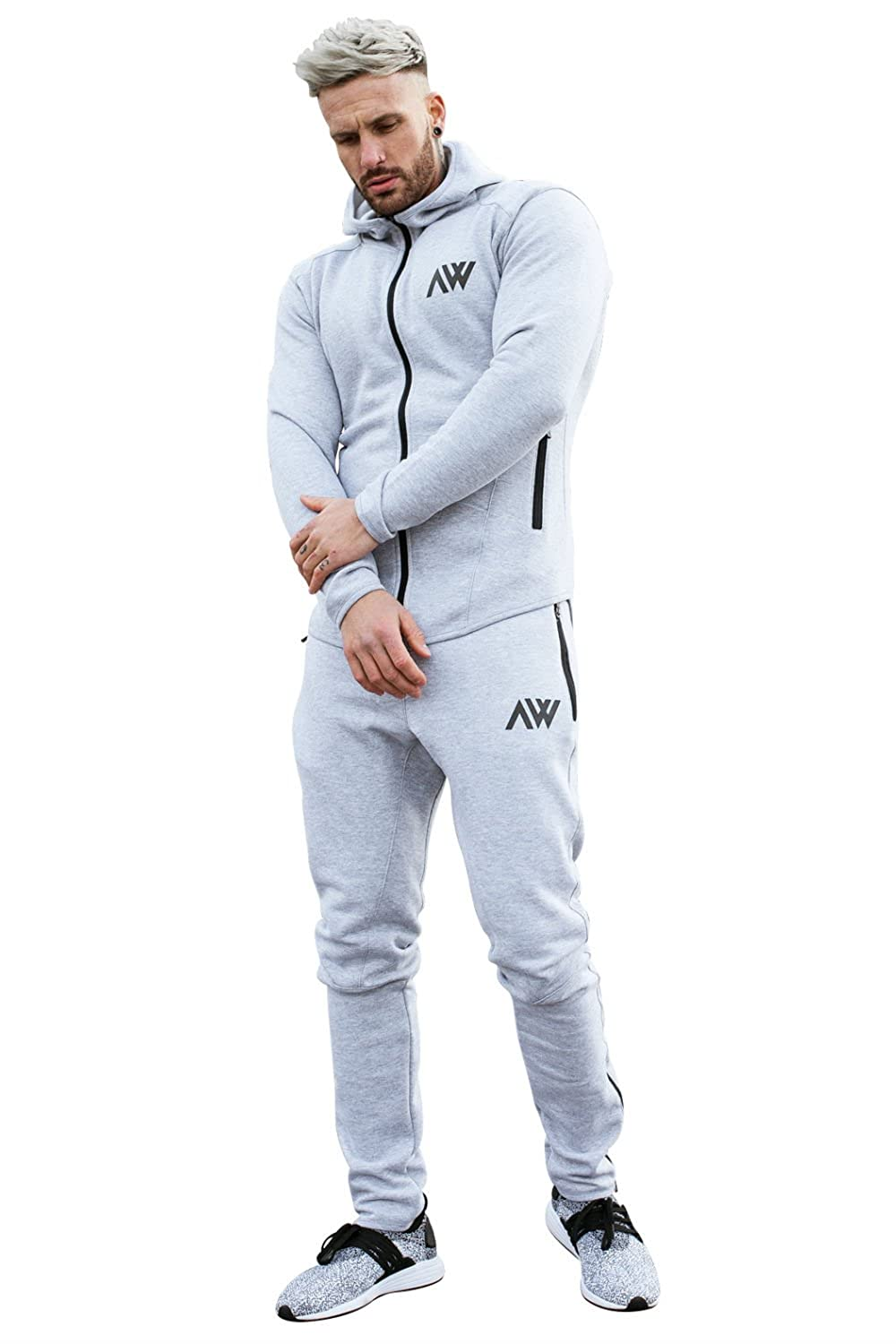 Aspire Wear Herren Trainingsanzug Lunar Grey Hoodie und Unterteile Set Gym Fitness Trainingsanzug Active Sport Stretch Slim Fit Top mit Jogginghose