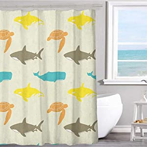"Pattern Printed Shower Curtain 70""x70""inchSea Animals,Pattern with Whale Shark and Turtle Aquarium Doodle Style Marine Life Ivory Taupe Peach Graphic Print Polyester Fabric Bathroom Decor Sets"