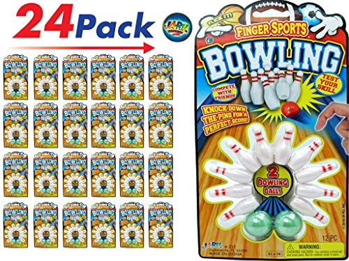 JA-RU Finger Bowling Game (Pack of 24) ond one Collectable Bouncy Ball Bowling Table Set for Kids | Item #217-24