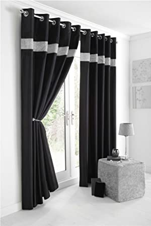 Kitchen Curtains black and silver kitchen curtains : BLACK & SILVER DIAMANTE LINED CURTAINS WITH EYELET RING TOP 66 x ...