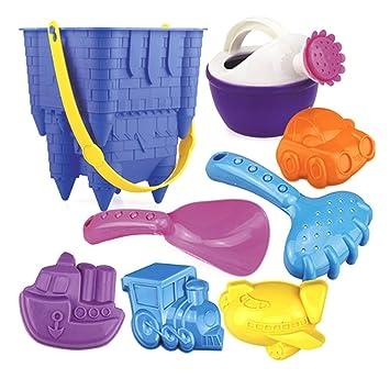 PovKeever Juego de moldeo 8PCS Beach Sand Toy Set con moldes para vehículos y herramientas de ...