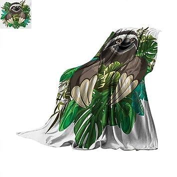 79f27833b6d52 Amazon.com: Sloth Lightweight Blanket Cartoon Mammal on Tropical ...