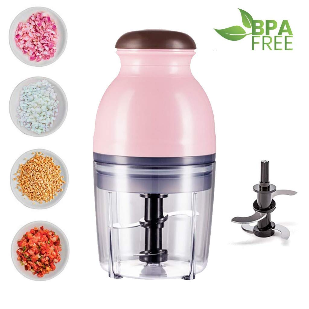 SNIDII Portable Blender Smoothie Maker, 600ML Mini Food Processors with Double-Layer Stainless Steel 420 Blade, 300W Bullet Blenders, Ideal for Grinding, Mixing, Baby Food Supplements (Pink)
