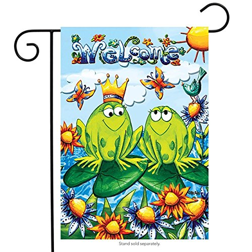 Brownrio Frog Friends Summer Garden Flag Welcome Lily Pads 1