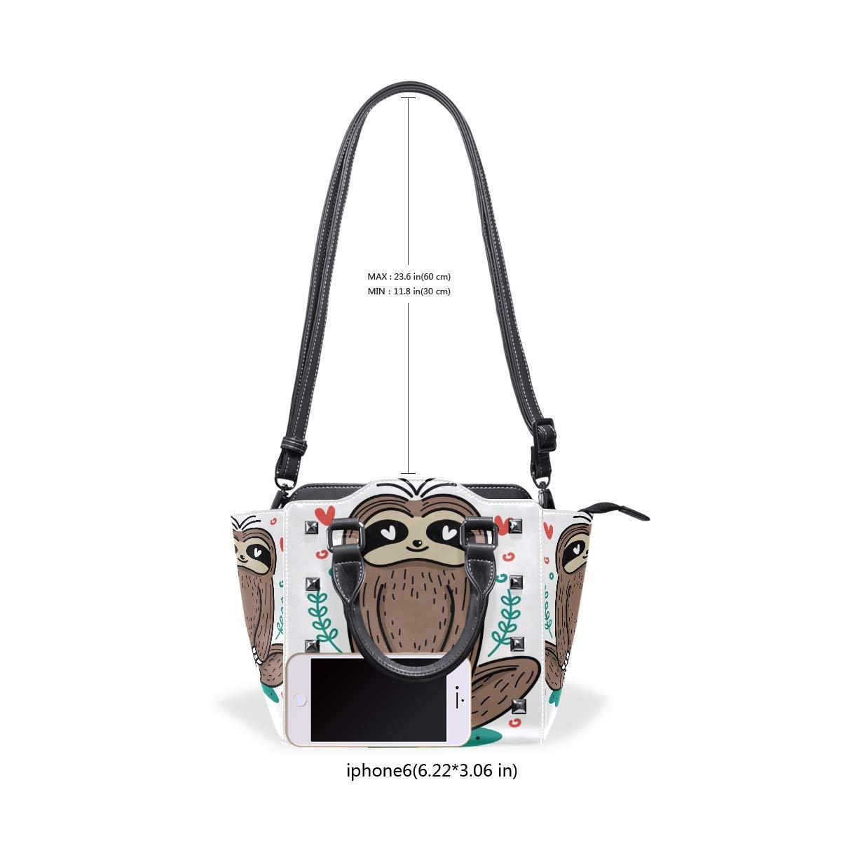imobaby Cute Yoga Sloth PU Leather Girls Top-Handle Handbags Single-Shoulder Ladies Tote Crossbody Bag Messenger Bags For Women