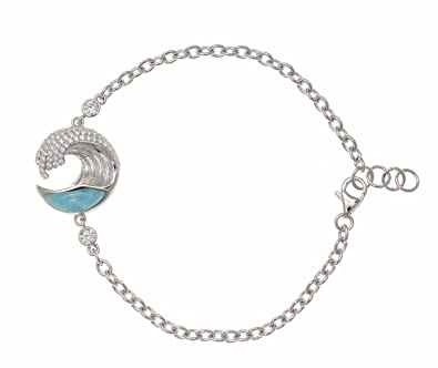 silver dp amazon cz hawaiian genuine sterling larimar wave bracelet natural ocean com quot
