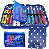 Crochet Hook Set with Ergonomic Crochet Hooks for Ultimate Comfort-Crochet for Longer with No Hand Pain! Crochet Kit with Sturdy Case, 9 Crochet Needles & 22 Accessories to Stay Organized! Ideal Gift.