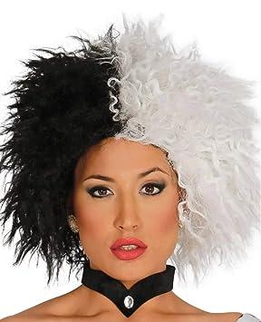 MyPartyShirt Cruella De Vil peluca 101 dálmatas Negro para mujer blanca adulta de la película de Disney: Amazon.es: Hogar