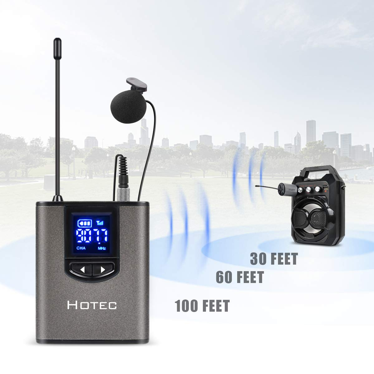 Hotec UHF Wireless Headset Microphone/Lavalier Lapel Mic with Bodypack Transmitter and Mini Rechargeable Receiver 1/4'' Output, For Live Performances, Support Phone by Hotec (Image #3)