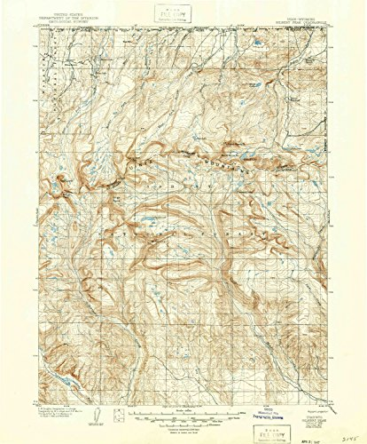 YellowMaps Gilbert Peak UT topo map, 1:125000 Scale, 30 X 30 Minute, Historical, 1906, Updated 1947, 20.5 x 17 in - Tyvek (Hill Of Gilbert The King)