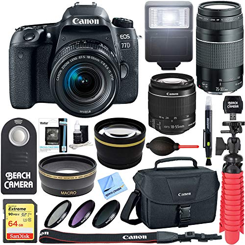 Canon EOS 77D 24.2 MP DSLR Camera + EF-S 18-55mm IS STM & 75-300mm III Lens Kit + Accessory Bundle 64GB SDXC Memory + SLR Photo Bag + Wide Angle Lens + 2x Telephoto Lens + Flash & More
