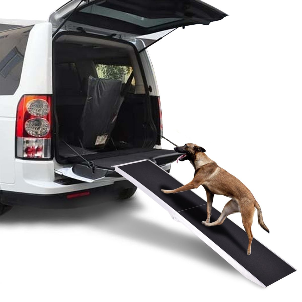 6Ft Portable Aluminum Folding Pet Paw Safe Dog Ramp Ladder Incline Car Truck SUV