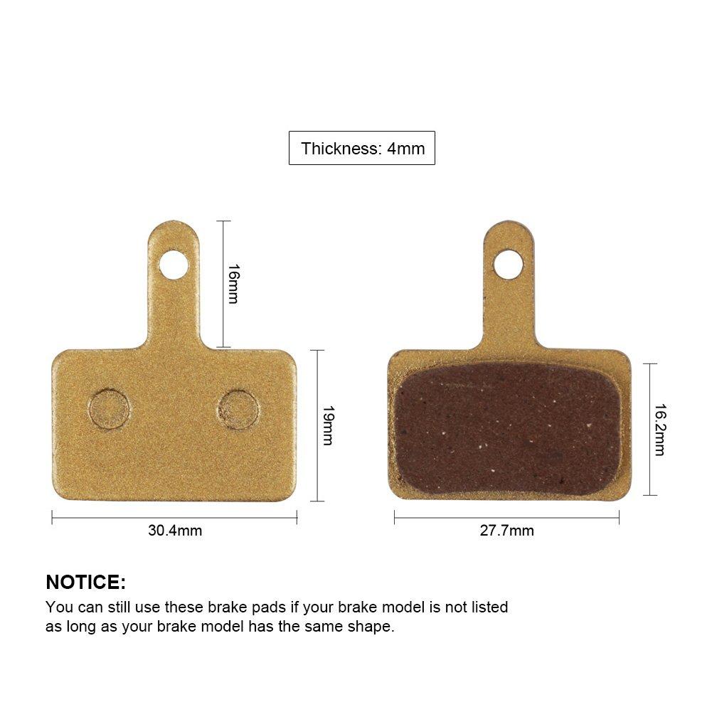 BIKEIN 2 Pairs Mountain Bike Metallic Disc Brake Pads for Shimano M375 M395 M416 M445 M446 M485 M495 M515 M525 Tektro Orion Auriga Pro